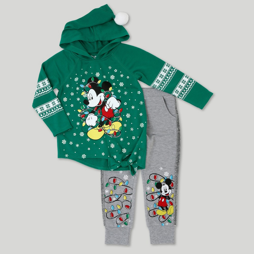 Toddler Girls Mickey Mouse Sweatshirt And Jogger Set - Disney Green Heather 3T