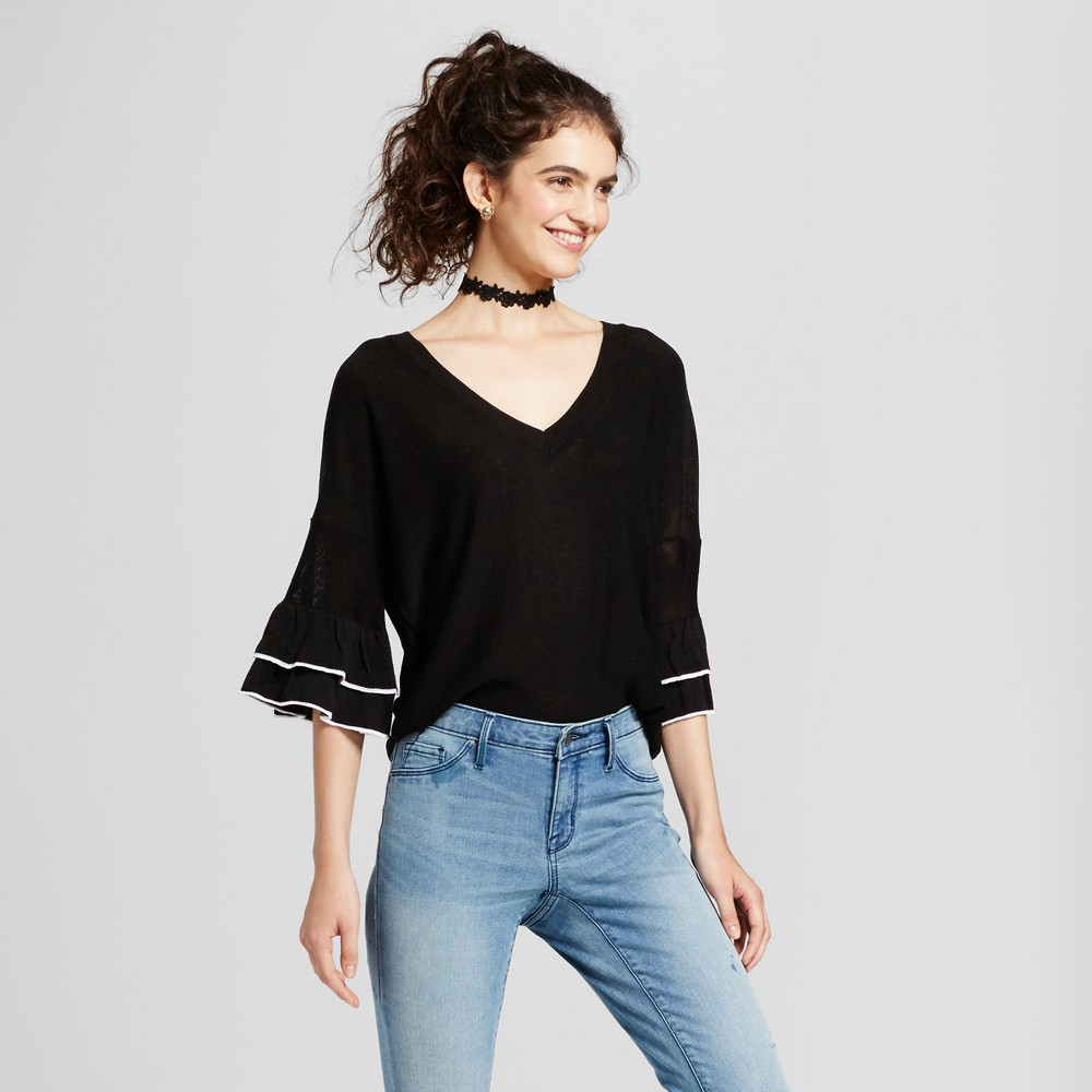 Womens Double Ruffle Bell Sleeve V-Neck Sweater - Alley & Gabby (Juniors) Black L