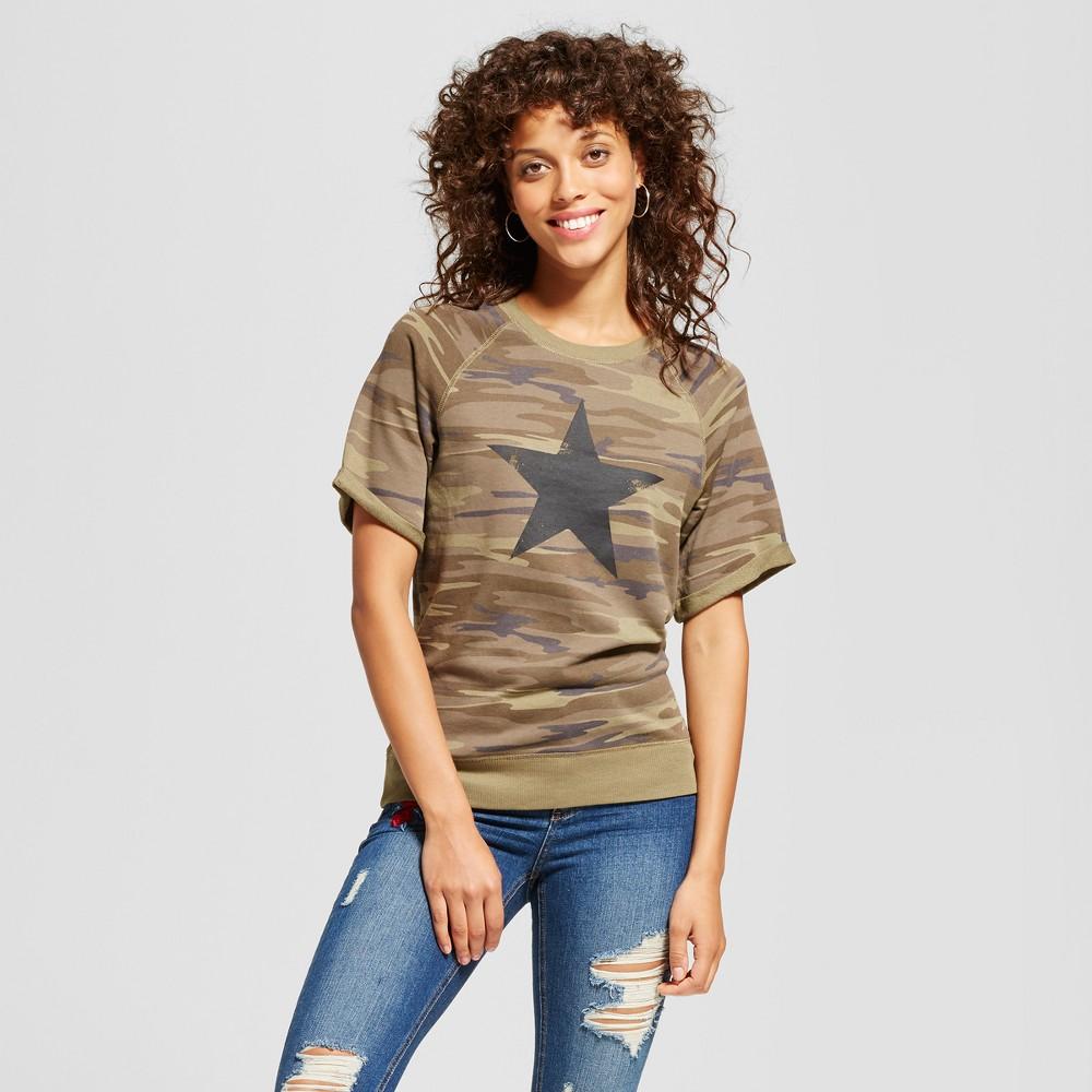 Womens Star Graphic Short Sleeve Sweatshirt Camo XS - Grayson Threads (Juniors), Green
