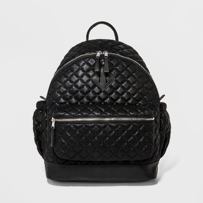 Women's Quilted Metallic Faux Suede Backpack - Mossimo Supply Co.™ Black
