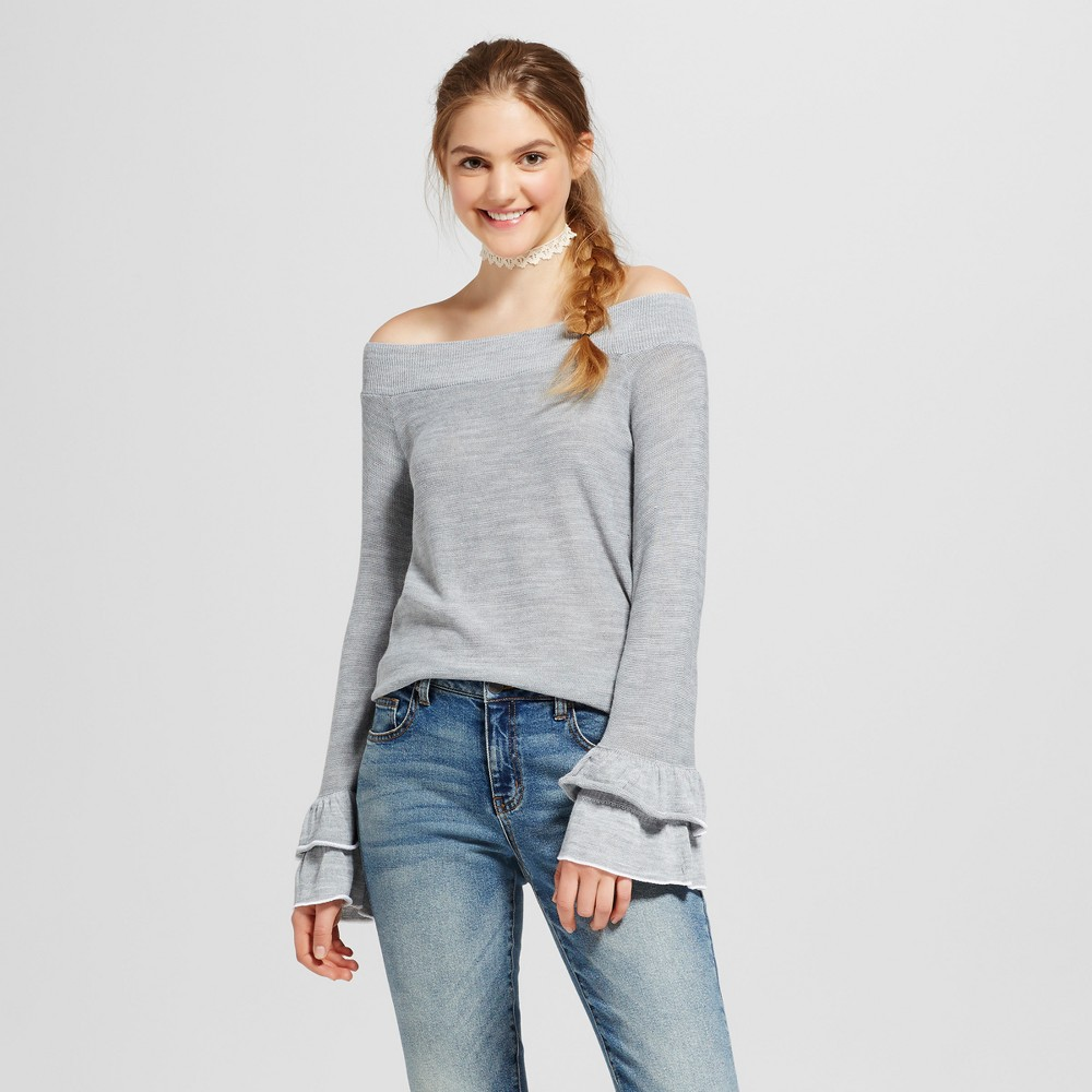 Womens Off the Shoulder Double Ruffle Bell Sleeve Sweater - Alley & Gabby (Juniors) Gray L