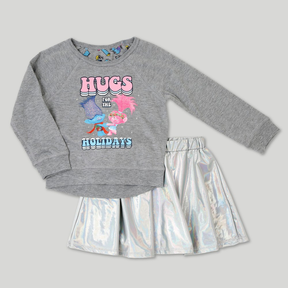 Toddler Girls Trolls Reversible Sweatshirt And Tutu Set - Heather Gray 2T