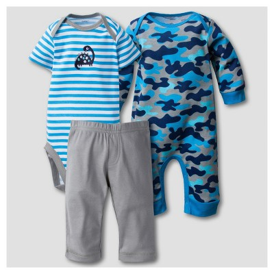 Gerber® Baby Boys' Dinosaur 3pc Short Sleeve Coverall, Onesies® Bodysuit, Pants Set - Blue 0-3M