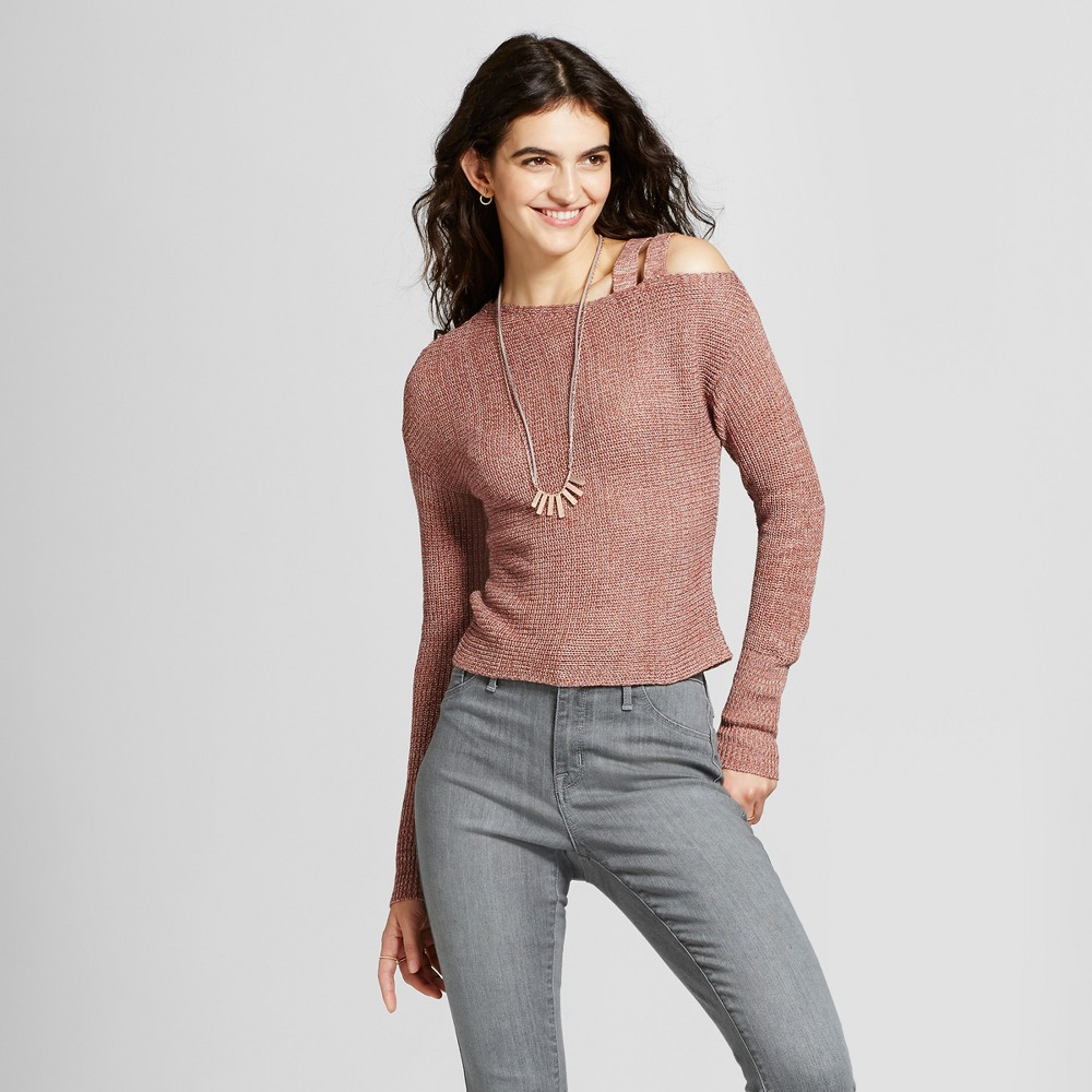 Womens One Shoulder Strappy Sweater - Alley & Gabby (Juniors) Orange XL, Brown