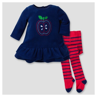 Gerber® Baby Girls' Apple 2pc Dress with Tights Set - Blue 3-6M