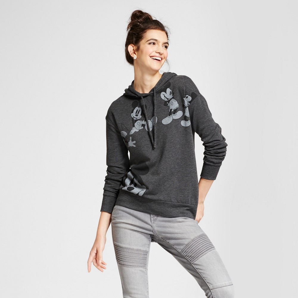 Womens Disney Mickey Mouse Graphic Hooded Sweatshirt (Juniors) - Charcoal XL, Gray