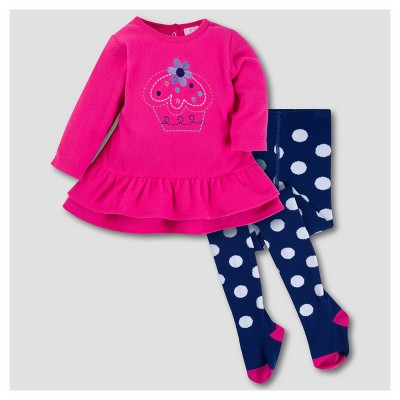 Gerber® Baby Girls' Cupcake 2pc Dress with Tights Set - Pink 3-6M