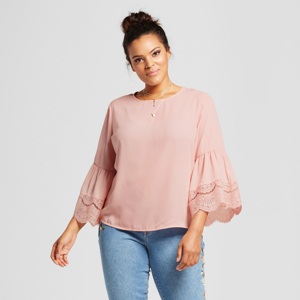 Womens Plus Size Lace Detail Bell Sleeve Blouse - Grayson Threads (Juniors) Pink 2X
