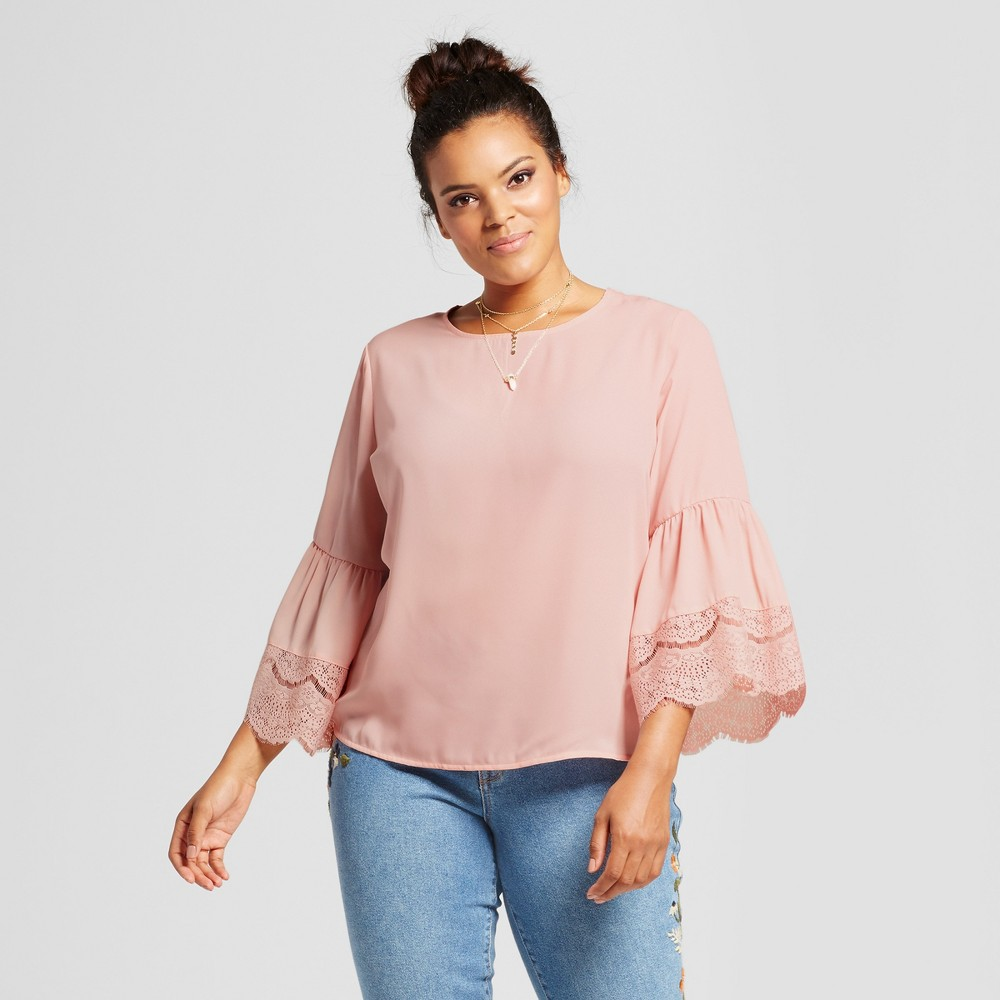 Womens Plus Size Lace Detail Bell Sleeve Blouse - Grayson Threads (Juniors) Pink 1X