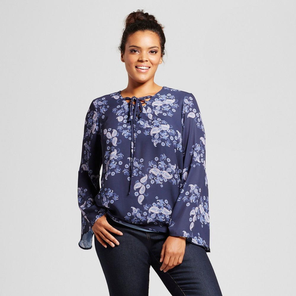 Womens Plus Size Floral Lace Up Bell-Sleeve Blouse - Grayson Threads (Juniors) Blue 1X