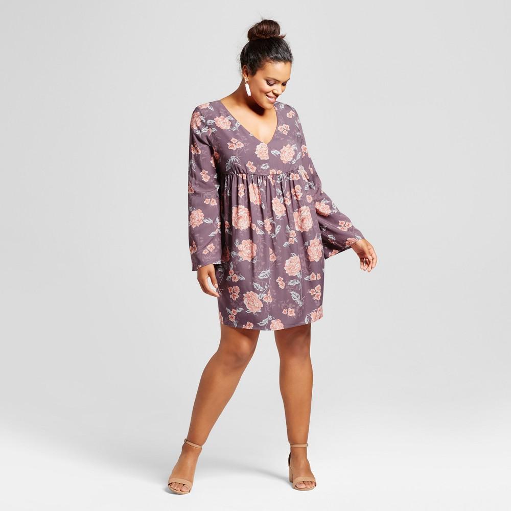 Womens Plus Size Floral V-Neck Tie Back A-Line Dress - Grayson Threads (Juniors) Purple Floral 2X, Black