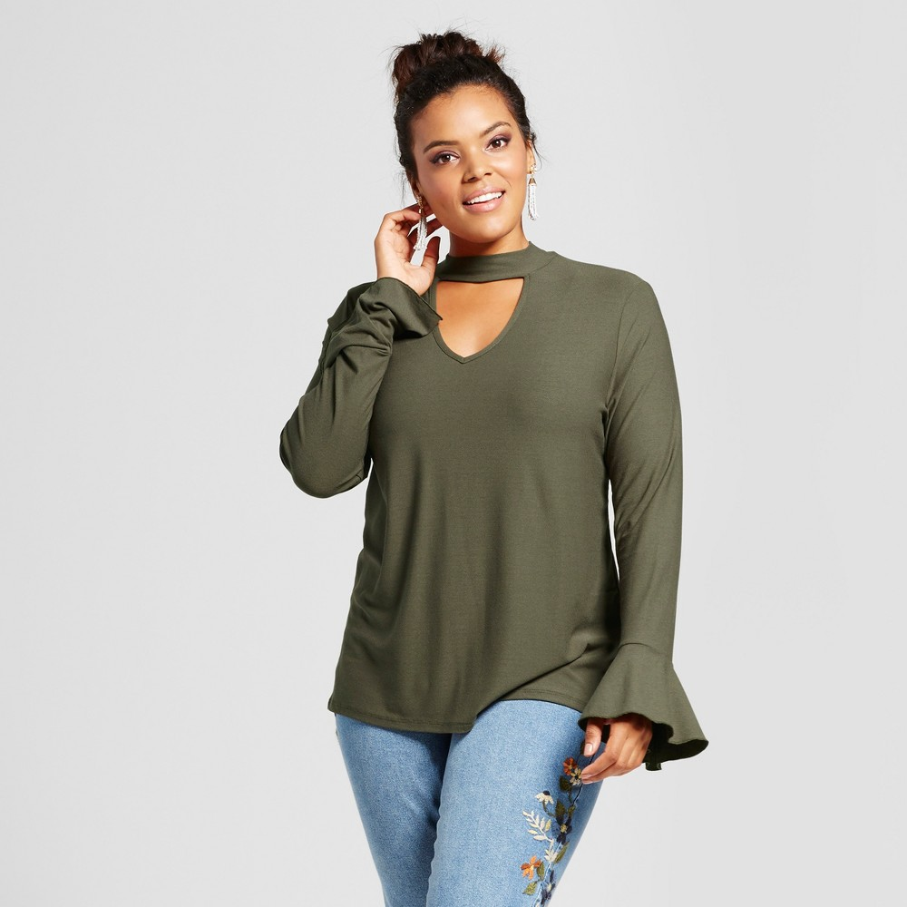 Womens Plus Size Keyhole Choker Neckline Bell-Sleeve Blouse - Grayson Threads (Juniors) Green 1X