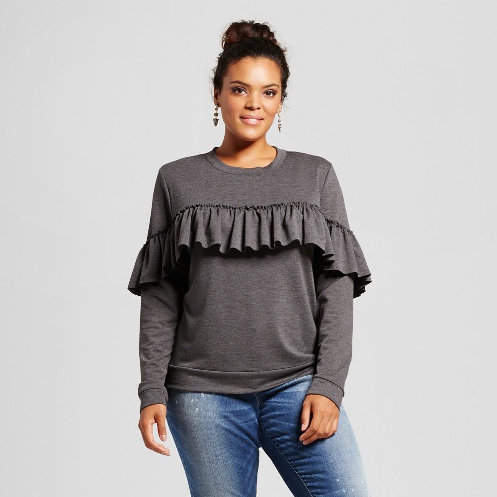 Womens Plus Size Ruffled Sweater Knit Sweatshirt - Grayson Threads (Juniors) Gray 3X