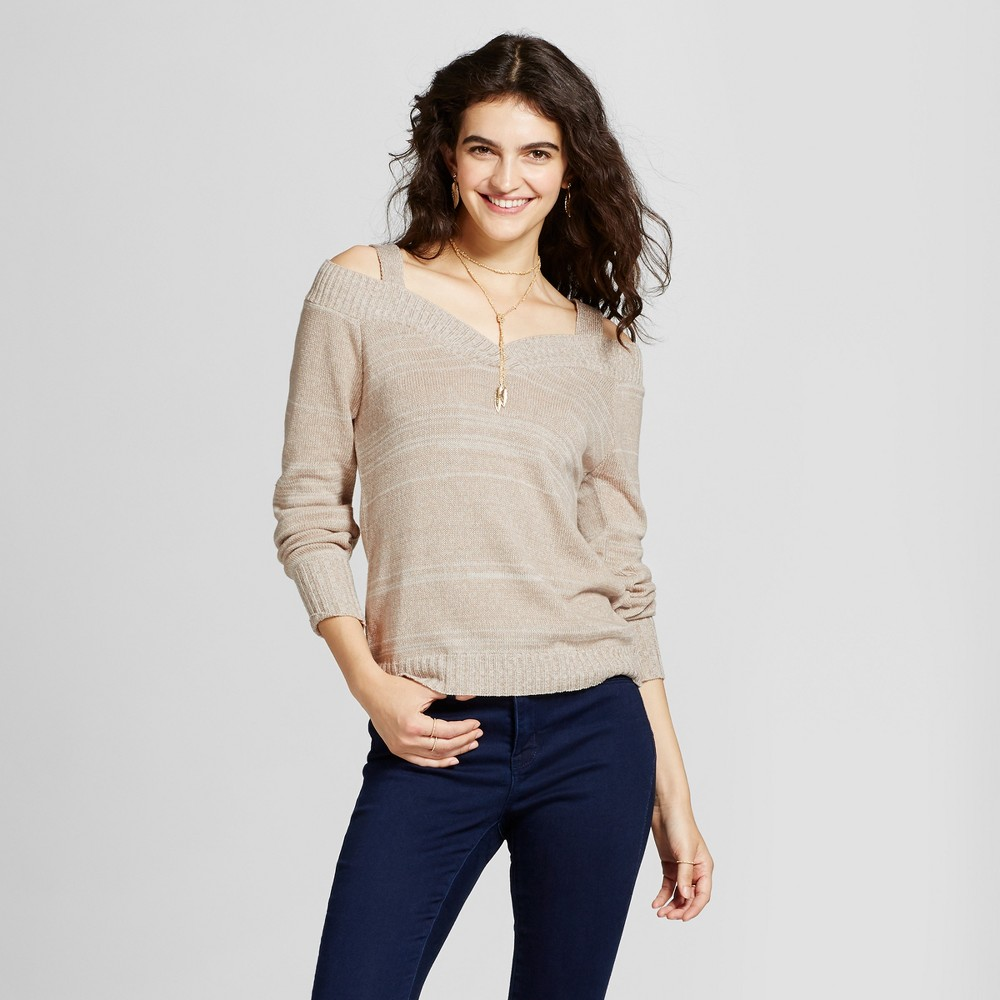 Womens Off the Shoulder V-Neck Sweater - Alley & Gabby (Juniors) Beige S
