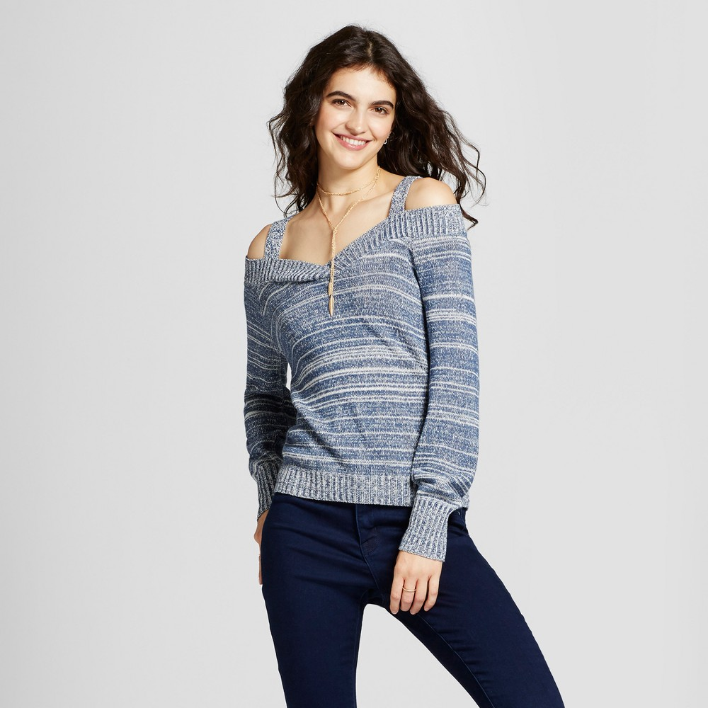 Womens Off the Shoulder V-Neck Sweater - Alley & Gabby (Juniors) Blue M