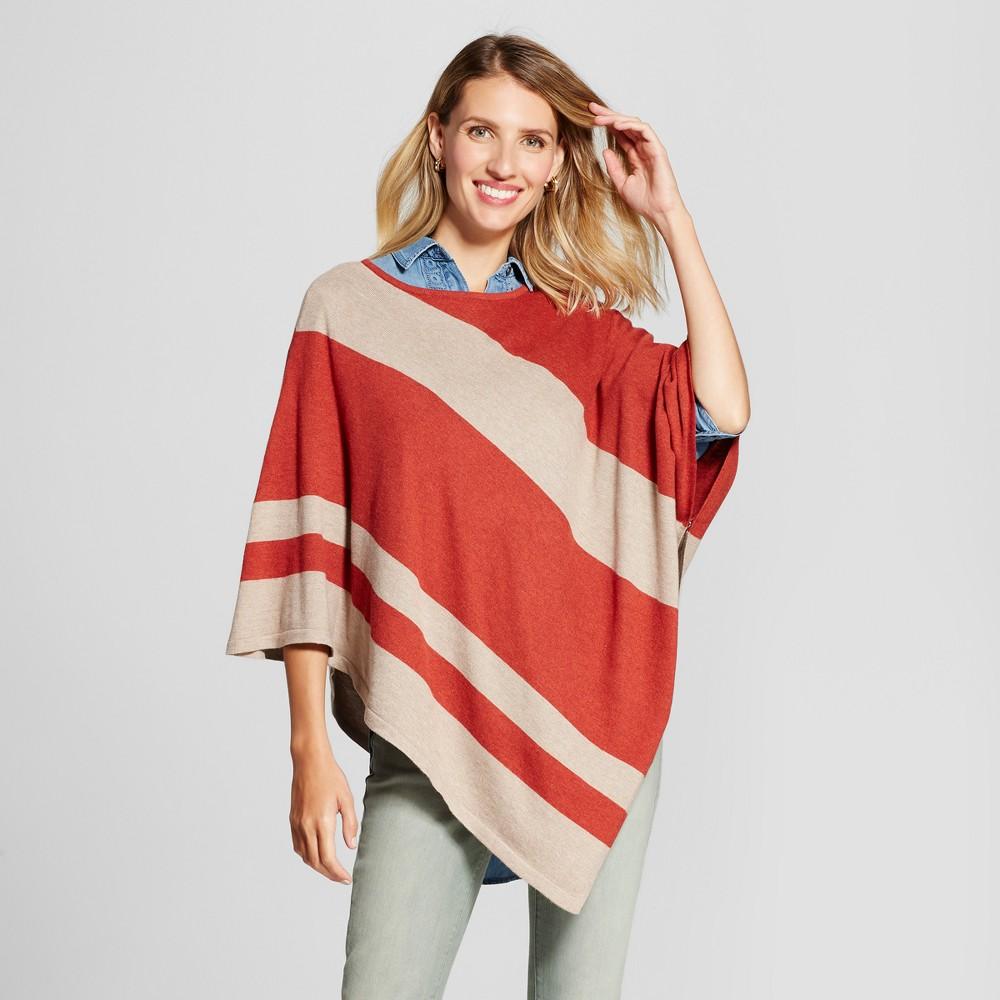Womens Diagonal Striped Poncho - Jillian Nicole Paprika/String M, Orange
