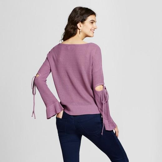 Women's Cut Out Tie Sleeve Sweater - Alley & Gabby (Juniors ...