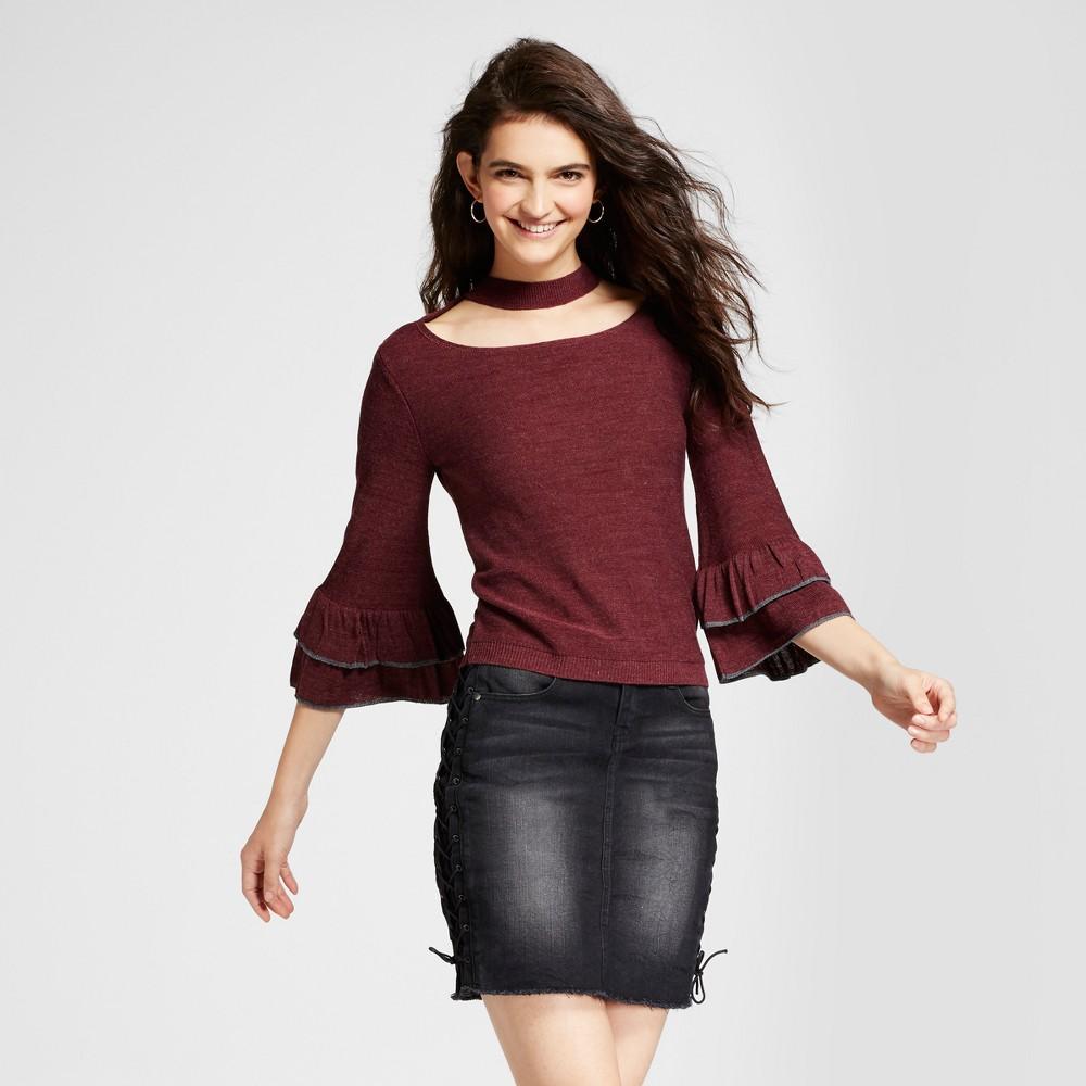 Womens Choker Double Ruffle Bell Sleeve Sweater - Alley & Gabby (Juniors) Burgundy M, Red