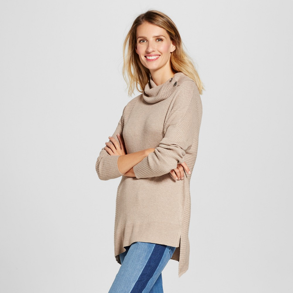 Women's Asymmetrical Cowlneck Pullover with Button Detail - Jillian Nicole Oatmeal L, Brown
