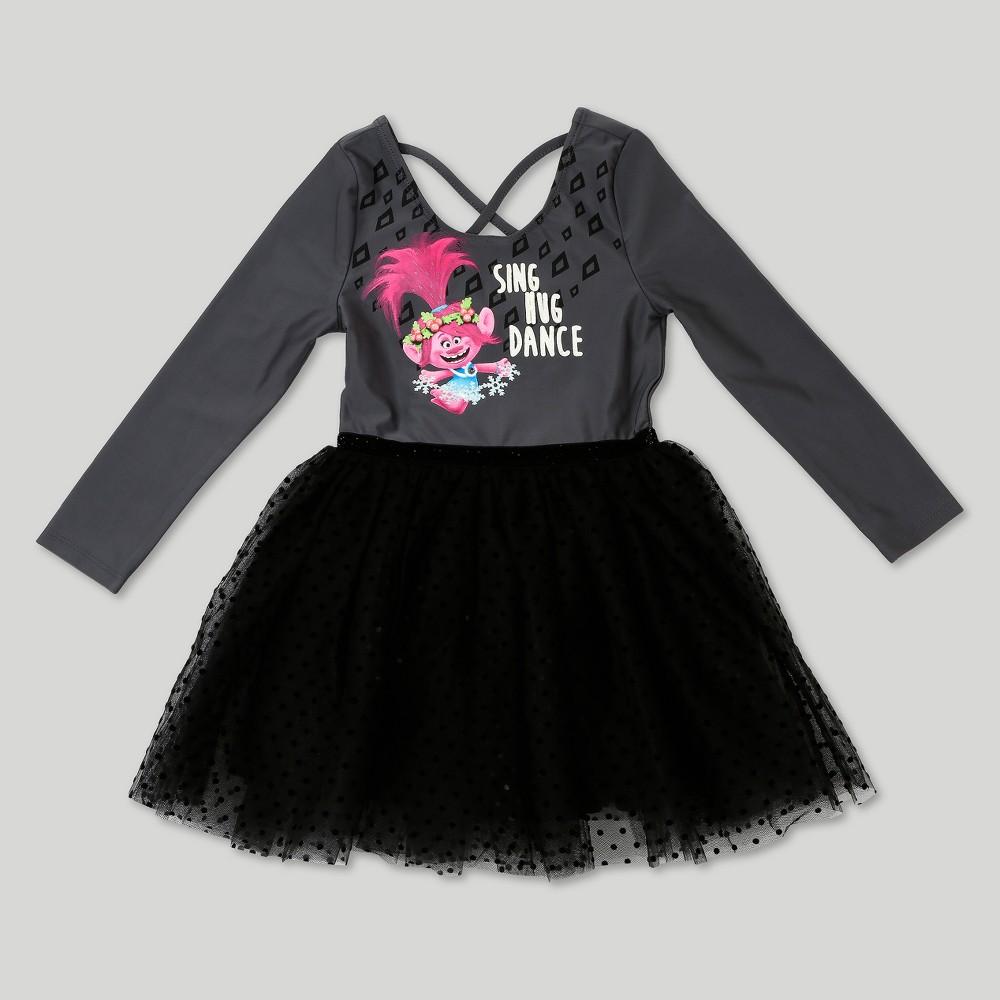 Toddler Girls Trolls Ballerina Dress - Charcoal Heather 4T, Gray
