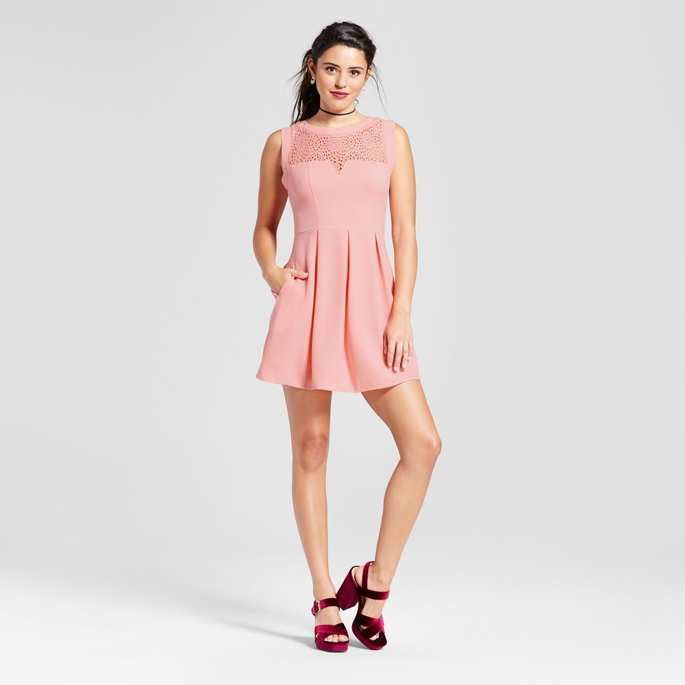 Womens Lace Yoke Fit and Flare Dress - Lots of Love by Speechless (Juniors) Blush S, Pink