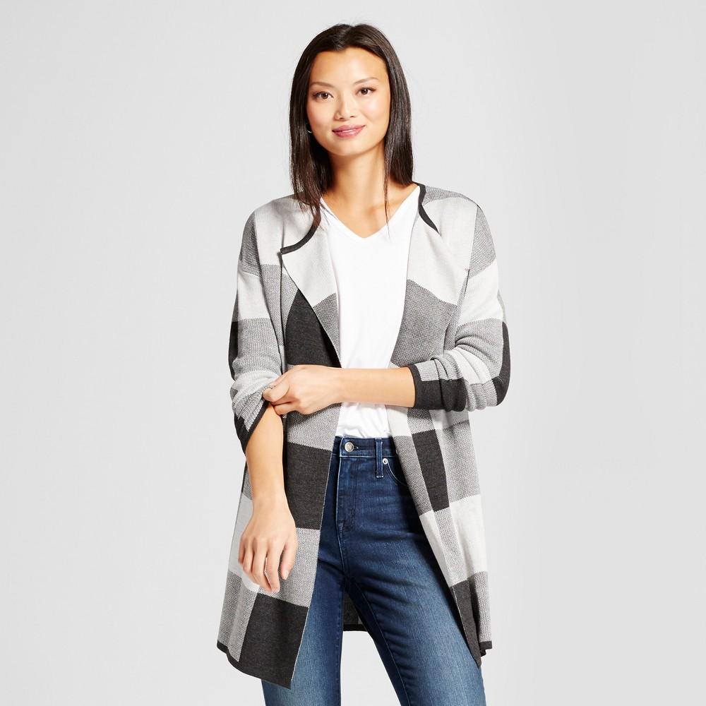 Womens Long Sleeve Plaid Open Layering Cardigan - Jillian Nicole Gray L