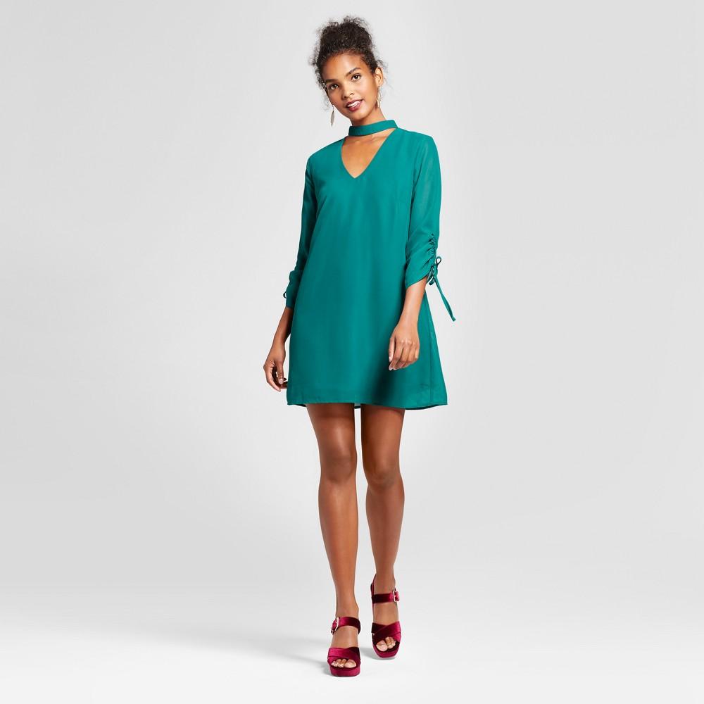 Womens Tie Sleeve Choker Neck Dress - Lots of Love by Speechless (Juniors) Green L
