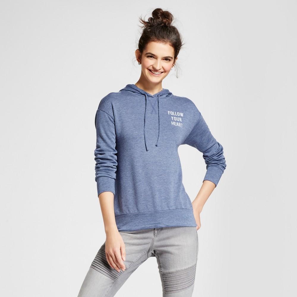 Womens Follow Your Heart Graphic Hooded Sweatshirt - Zoe+Liv (Juniors) Navy XS, Blue