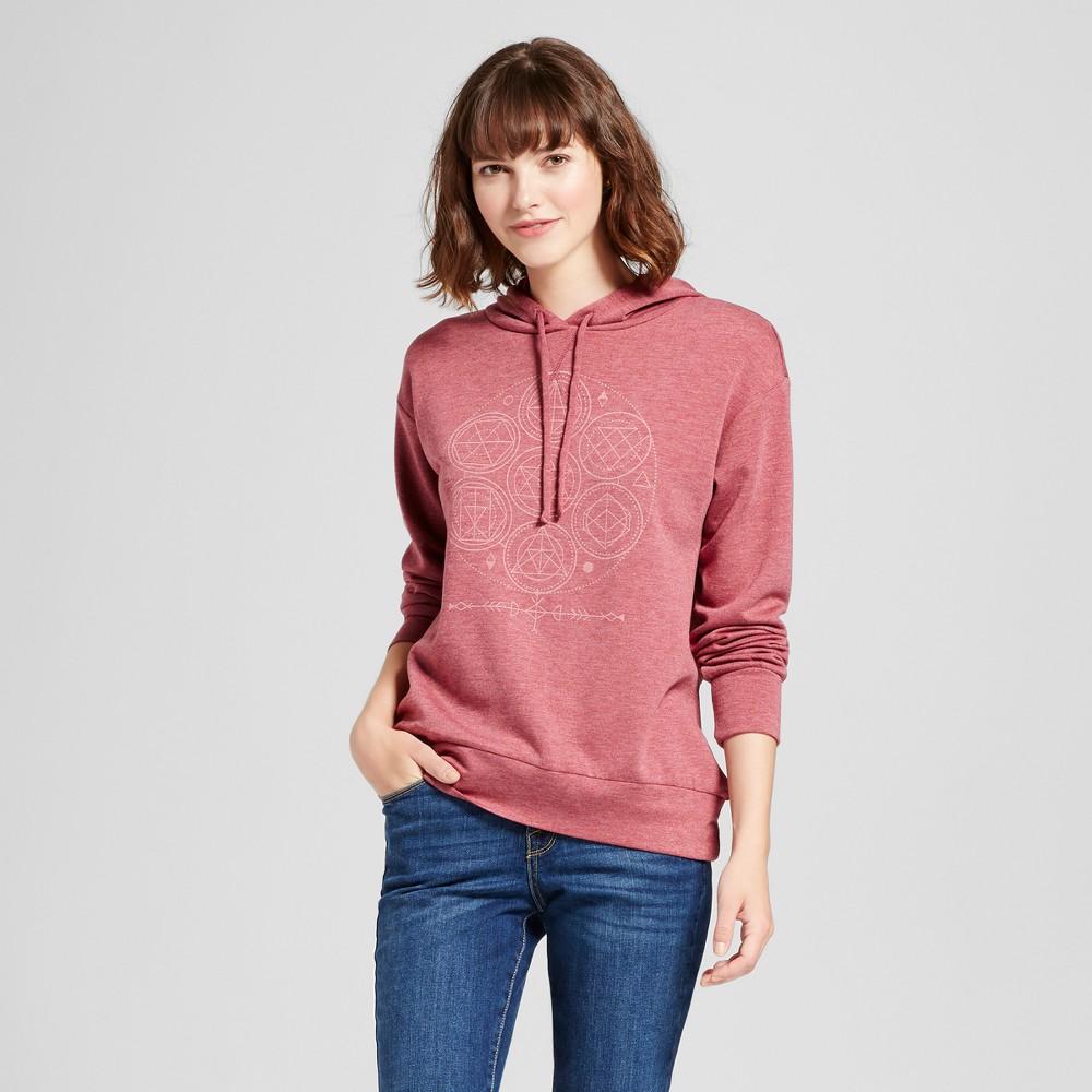 Womens Celestial Graphic Hooded Sweatshirt - Zoe+Liv (Juniors) Burgundy Xxl, Red
