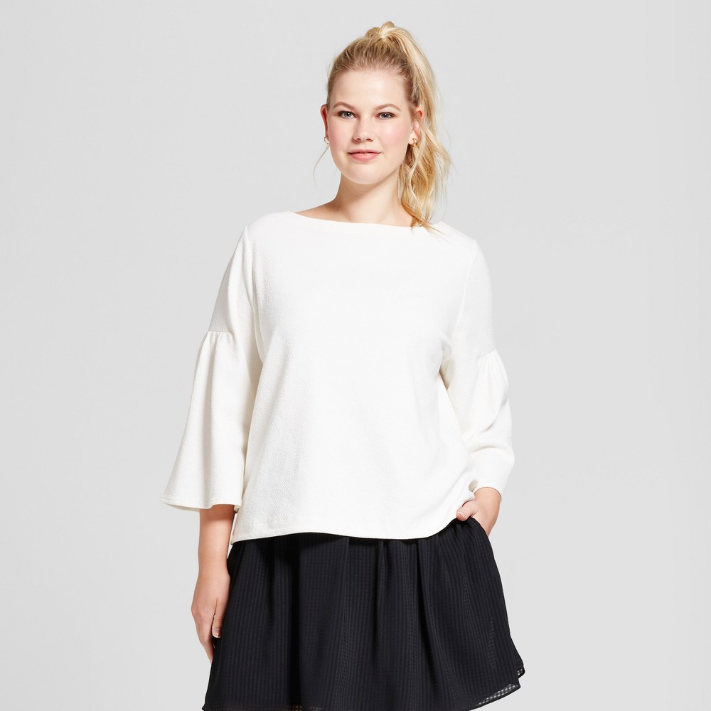 Womens Plus Size Bell Sleeve T-Shirt - A New Day Cream (Ivory) 2X