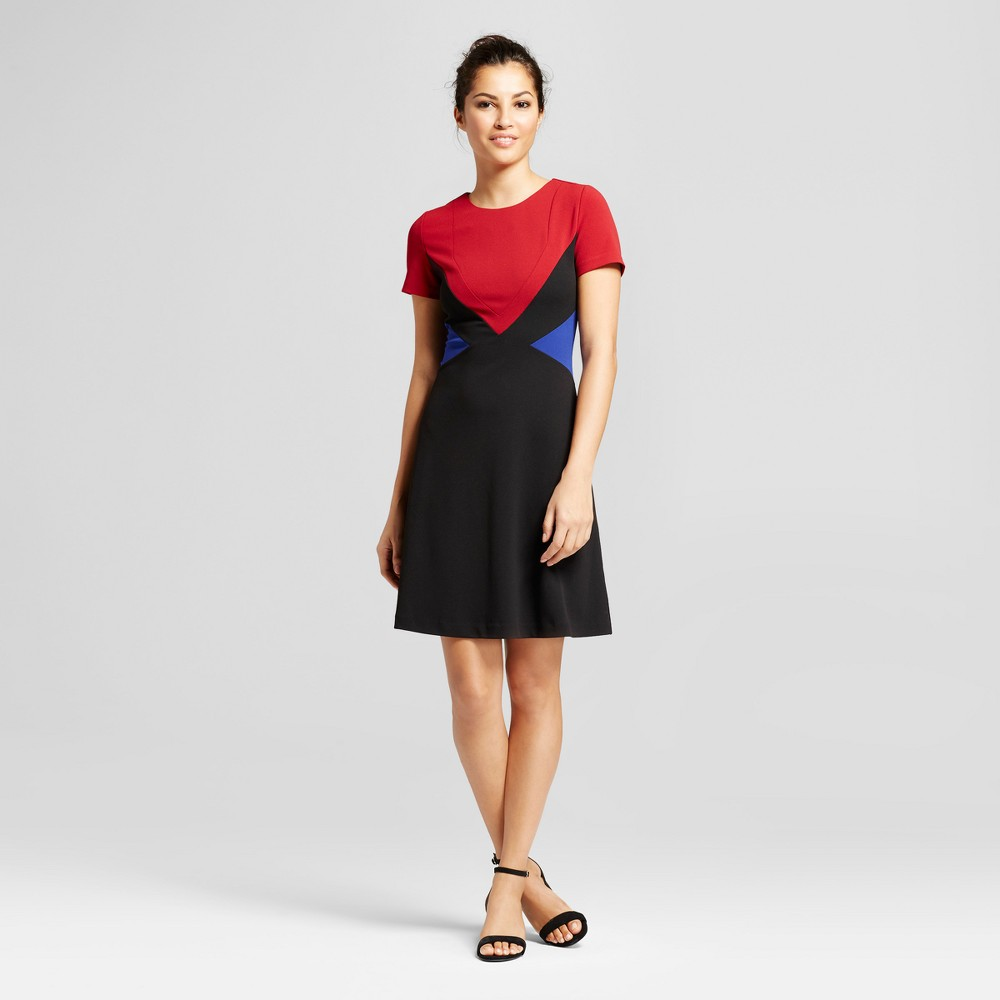 Womens Short Sleeve Scuba Crepe Color Blocked Dress - Spenser Jeremy Red Black 14, Black Red