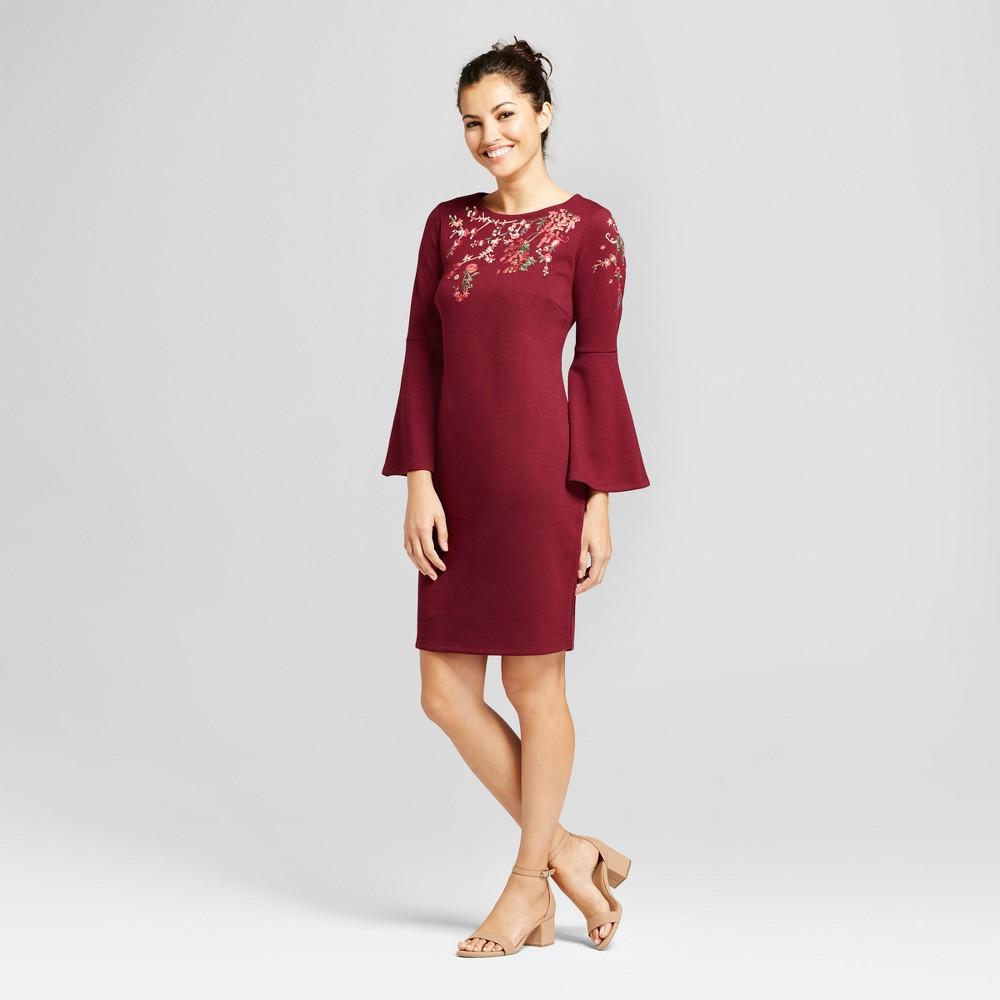 Women's Embroidered Ponte Flutter Sleeve Sheath Dress - Spenser Jeremy Wine Combo 10, Red