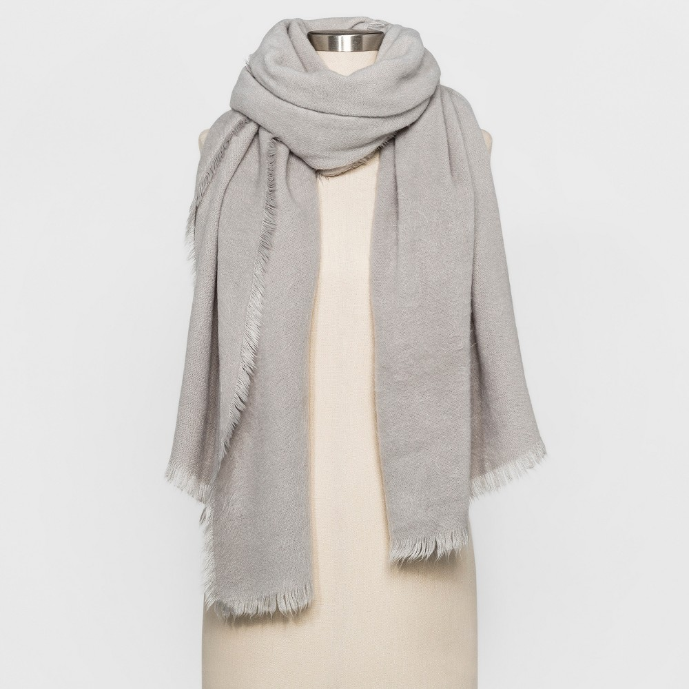 Womens Calling the People Fuzzy Wrap Scarf - Gray
