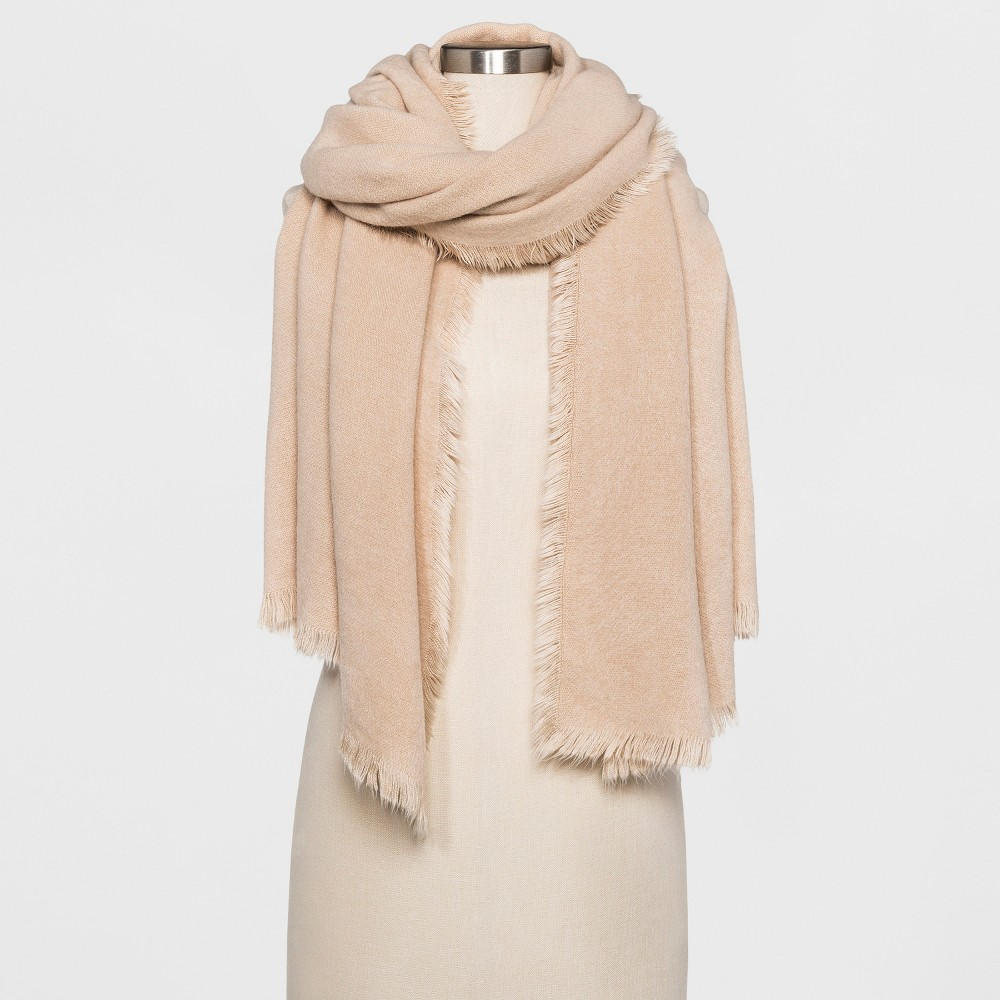 Womens Calling the People Fuzzy Wrap Scarf - Oatmeal