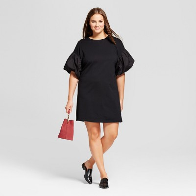 Plus size puffy sleeve dress