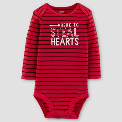 Baby Boys' Here to Steal Hearts Long Sleeve Bodysuit - Just One You® made by carter's Red 3M