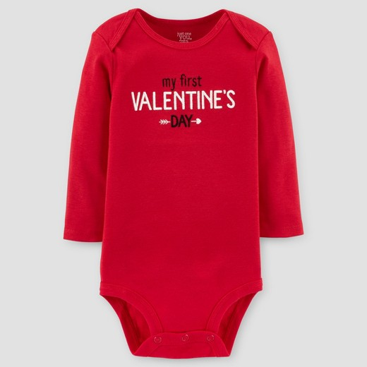 baby my first valentines day long sleeve bodysuit just one you made by carters red - Baby Valentine