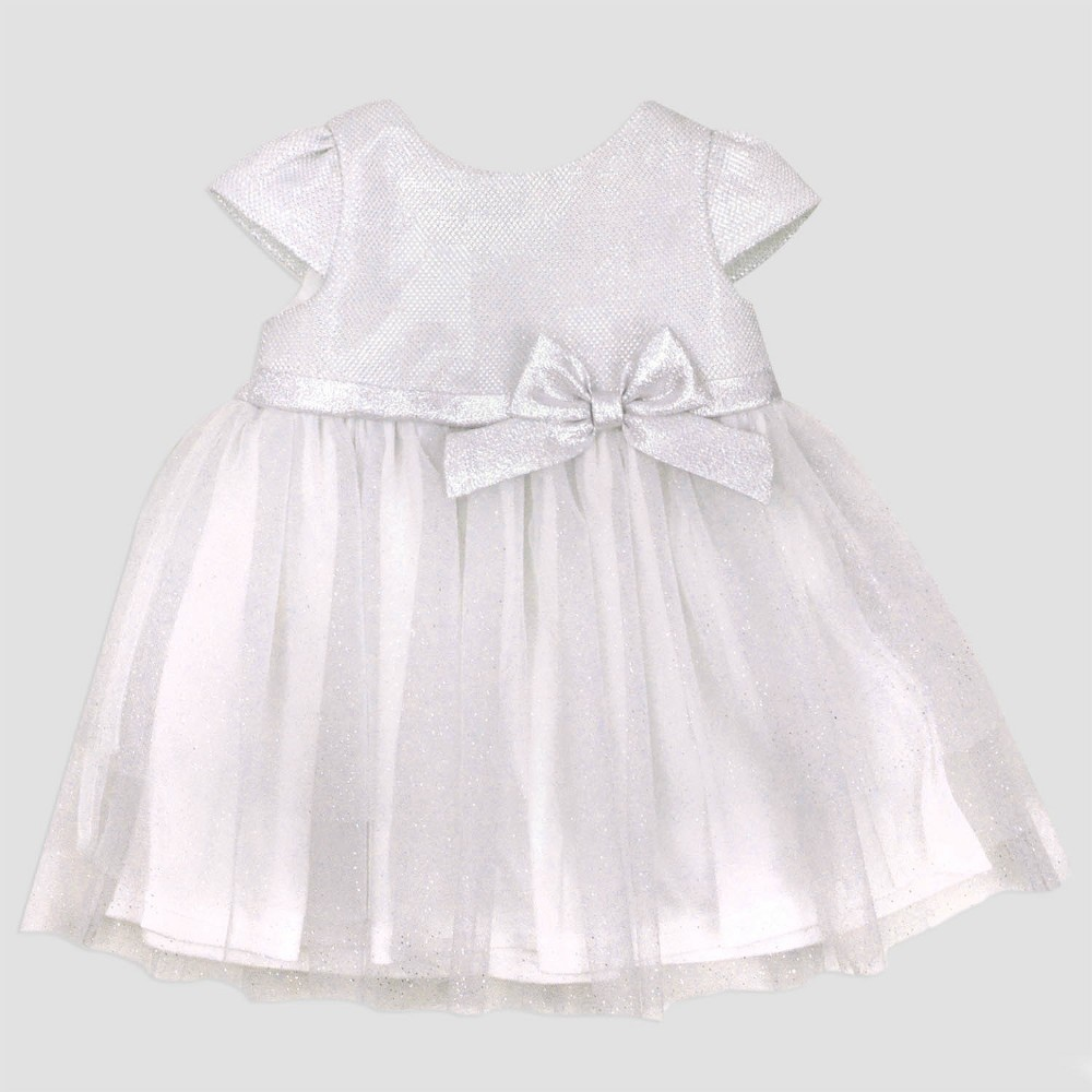 Baby Grand Signature Baby Girls Lurex Dress with Satin Bow - Ivory 12M, Size: 12 M, Beige