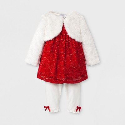 Baby Grand Signature Baby Girls' Metallic Lace Top, Vest and Leggings Dress Set - Red 3-6M