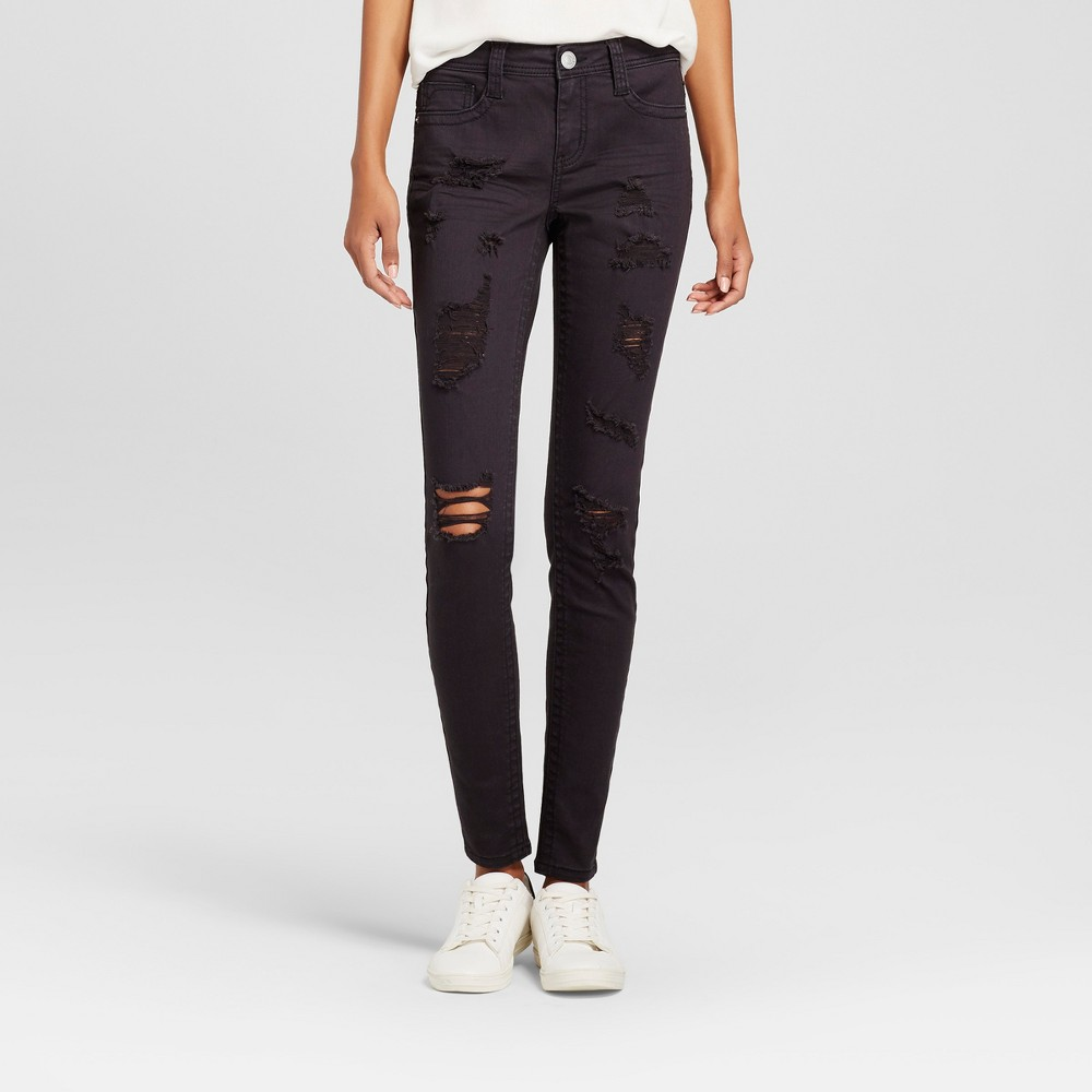 Womens Destructed Roll Cuff Skinny Jeans - Almost Famous (Juniors) Black 3