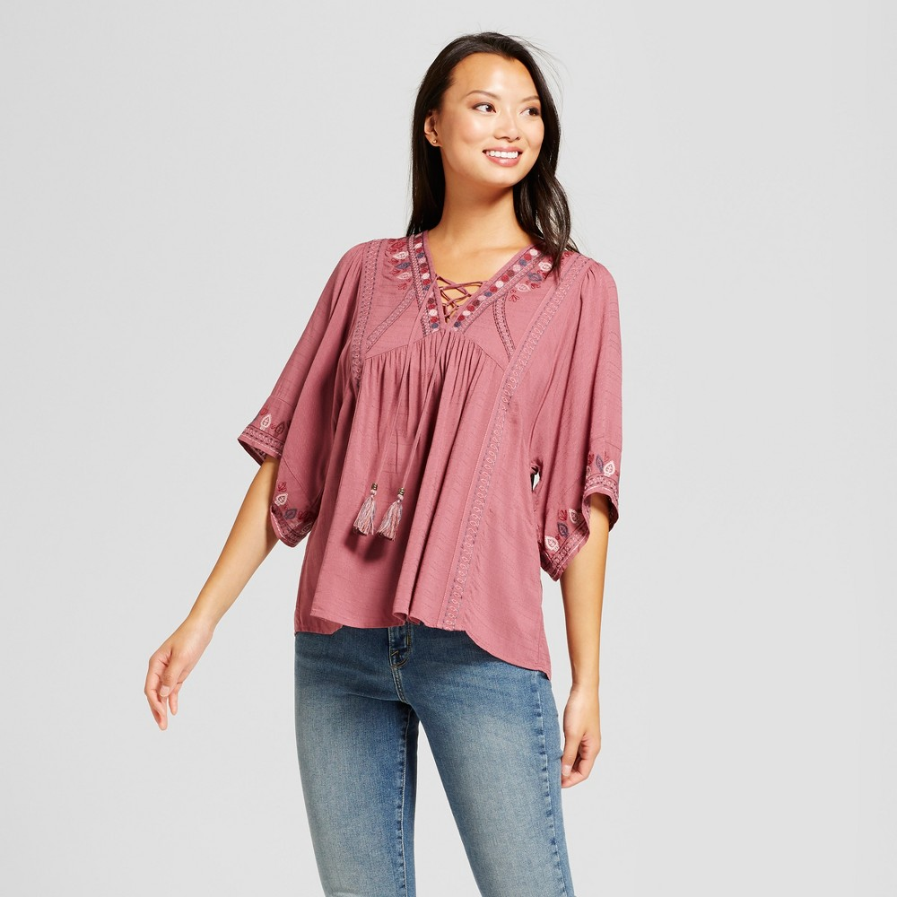 Womens Embroidered Kimono Sleeve Peasant Top - Knox Rose Dusted Mauve S, Purple
