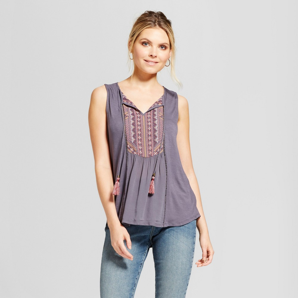 Womens Lace Back Knit to Woven Tank with Embroidered Yoke - Knox Rose Gray S