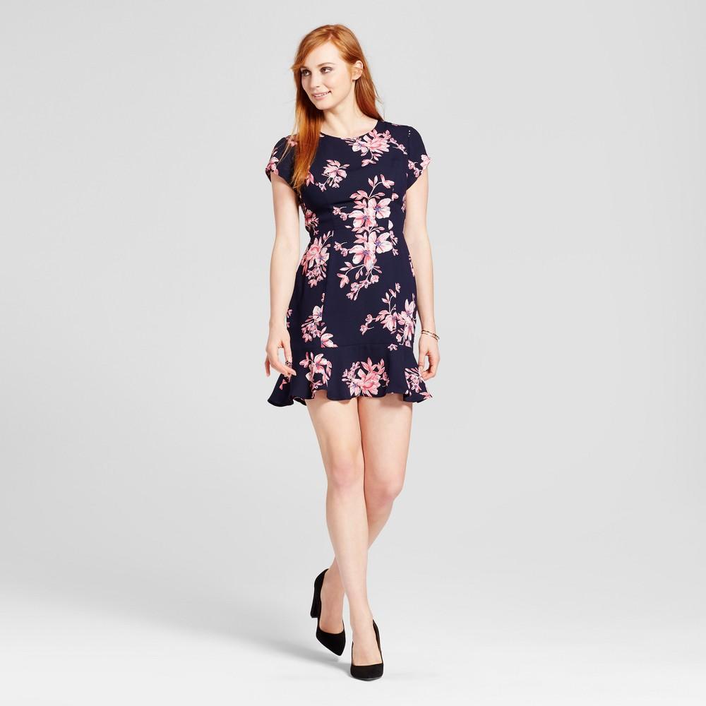 Womens Floral Lace-Up Back Dress - Éclair Navy L, Black