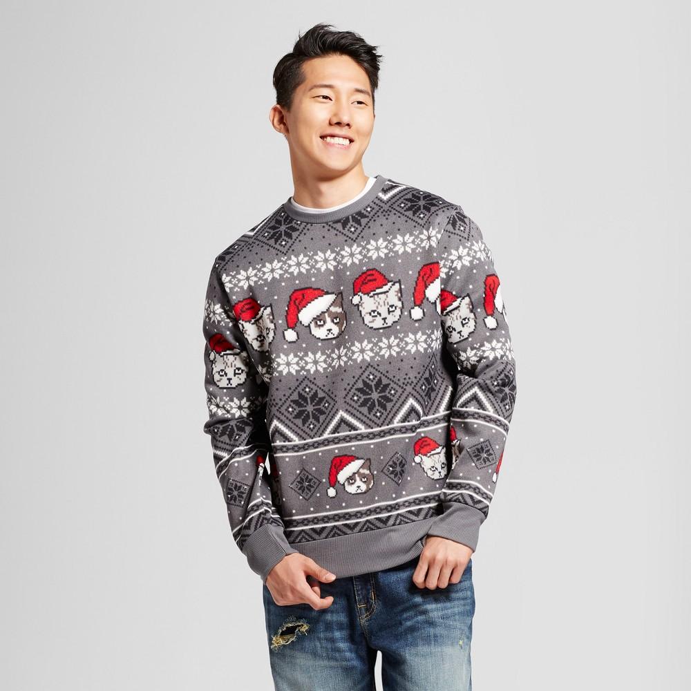 Mens Cat Head Sweater - Charcoal L, Gray