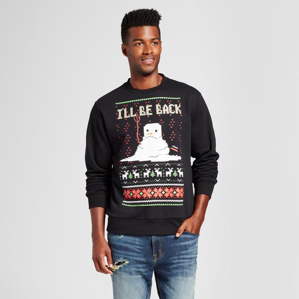 Mens Snowman Ill Be Back Fleece Sweater - Black L