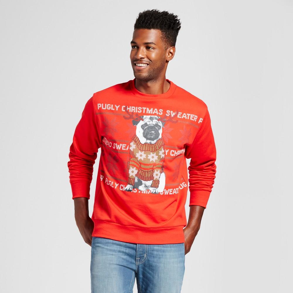 Mens Reindeer Pug Fleece Sweater - Red Xxl