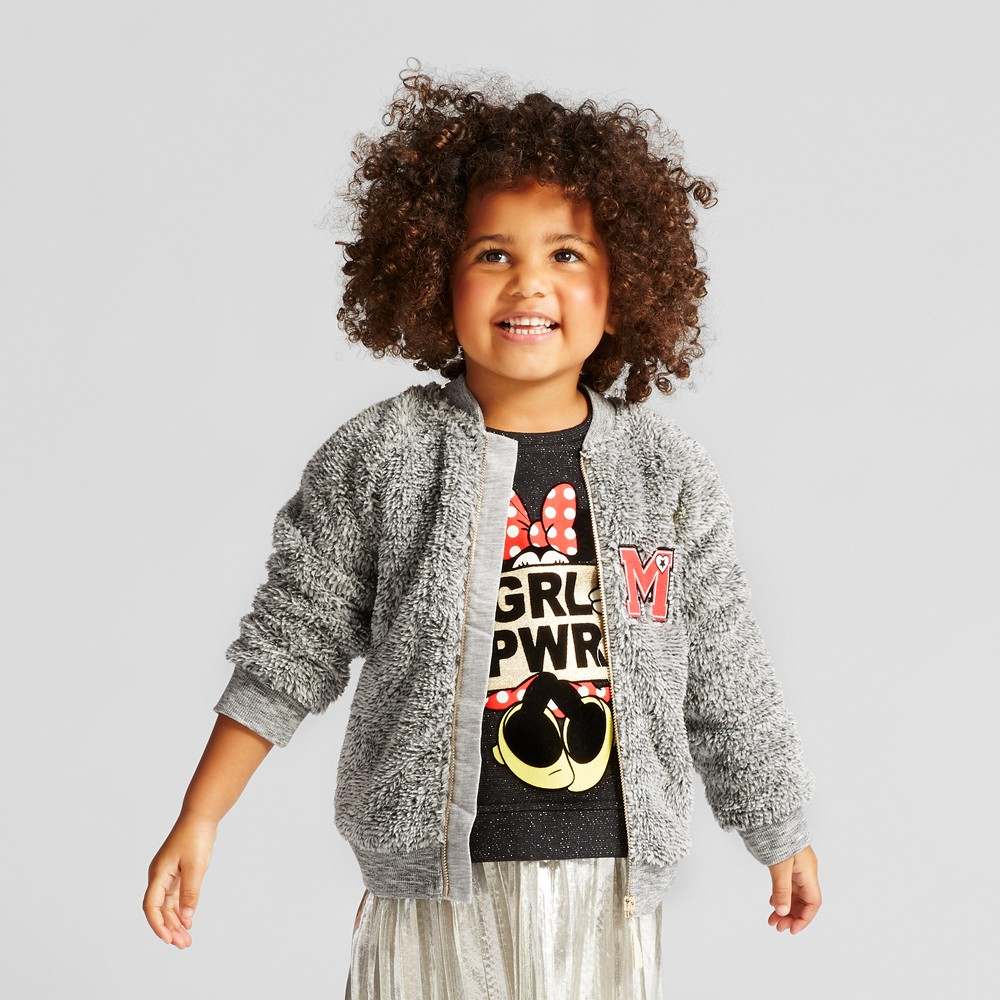 Toddler Girls Minnie Mouse Sherpa Bomber Jacket - Disney Gray 12M, Size: 12 M