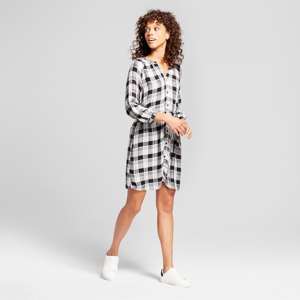 Womens Plaid Tie Waist Dress - Éclair Black/White S