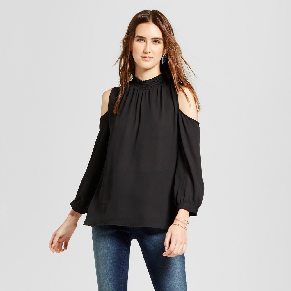Womens Cold Shoulder Ruffle Neck Top - Éclair Black L