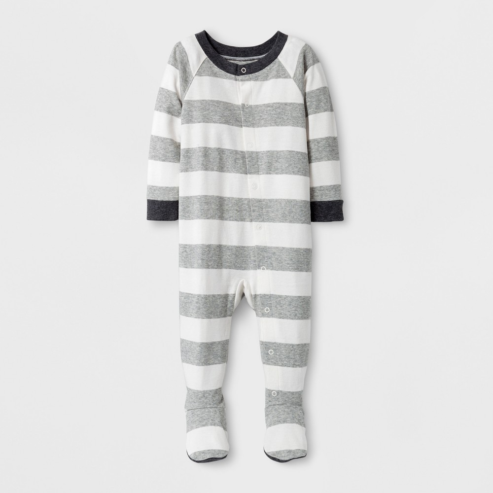 Baby Rugby Striped Onesie Gray 3-6 M, Infant Unisex, Size: 3-6M